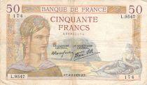 France 50 Francs Cérès - 02-02-1939 - Série L.9547 - TB