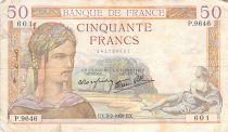 France 50 Francs Cérès - 02-02-1939 - Série P.9646 - TB