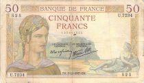 France 50 Francs Cérès - 02-12-1937 - Série U.7234 - TB