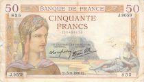 France 50 Francs Cérès - 03-11-1938 - Série J.9059 - TB