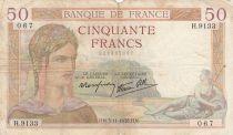 France 50 Francs Cérès - 03-11-1938- Série H.9133