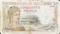 France 50 Francs Ceres - 03-11-1938 Serial E.9019 - F