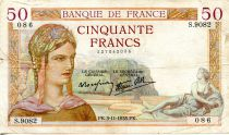 France 50 Francs Ceres - 03-11-1938 Serial S.9082-086 - F to VF