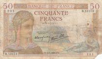 France 50 Francs Ceres - 04-04-1940 - Serial B.13173