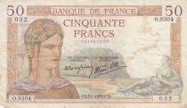 France 50 Francs Cérès - 05-01-1939- Série O.9304