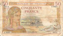 France 50 Francs Cérès - 09-03-1939 Série H.9881 - TB