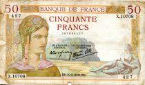 France 50 Francs Cérès - 10-08-1939 Série X.10708-427 - PTB