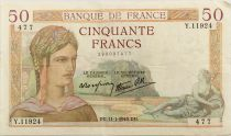 France 50 Francs Ceres - 11-01-1940 Serial Y.11924 - VF