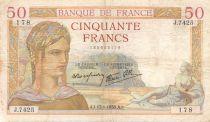 France 50 Francs Cérès - 13-01-1938 - Série J.7425 - TB