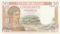 France 50 Francs Ceres - 13-05-1937 - Serial Y.6137 - XF