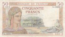 France 50 Francs Ceres - 14-03-1940  - Serial  X.12963 - VF - P.85