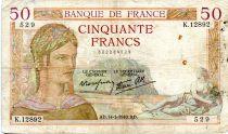 France 50 Francs Cérès - 14-03-1940 Série K.12892-529 - TB