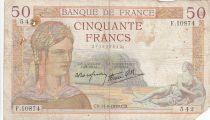 France 50 Francs Ceres - 14-09-1939 - Serial F.10874