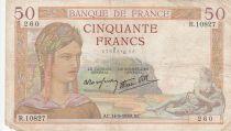 France 50 Francs Ceres - 14-09-1939 - Serial R.10827