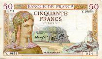 France 50 Francs Cérès - 14-09-1939 Série Y.10854-074 - TTB