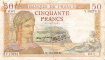 France 50 Francs Cérès - 15-06-1939 Série Y.10275 - TB