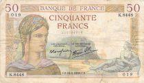 France 50 Francs Cérès - 15-09-1938 - Série K.8448 - PTB