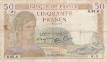 France 50 Francs Cérès - 15-09-1938- Série H.8516