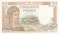 France 50 Francs Ceres - 16-07-1936 - Serial K.4786 - VF to XF