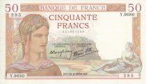 France 50 Francs Cérès - 16/2/1939 - Serial  Y. 9680