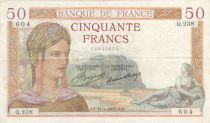 France 50 Francs Ceres - 17-01-1935 - Serial Q.238 - VF
