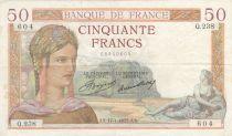 France 50 Francs Cérès - 17-01-1935 - Série Q.238 - TTB