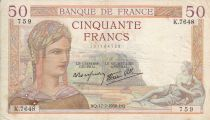 France 50 Francs Ceres - 17-02-1938 Serial K.7648