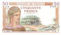 France 50 Francs Cérès - 17-02-1938 Série B.7624 - Date Rare