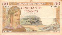 France 50 Francs Cérès - 17-03-1938 Série H.7687 - PTTB