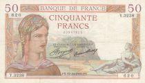 France 50 Francs Ceres - 17-10-1935 - Serial Y.3238 - VF
