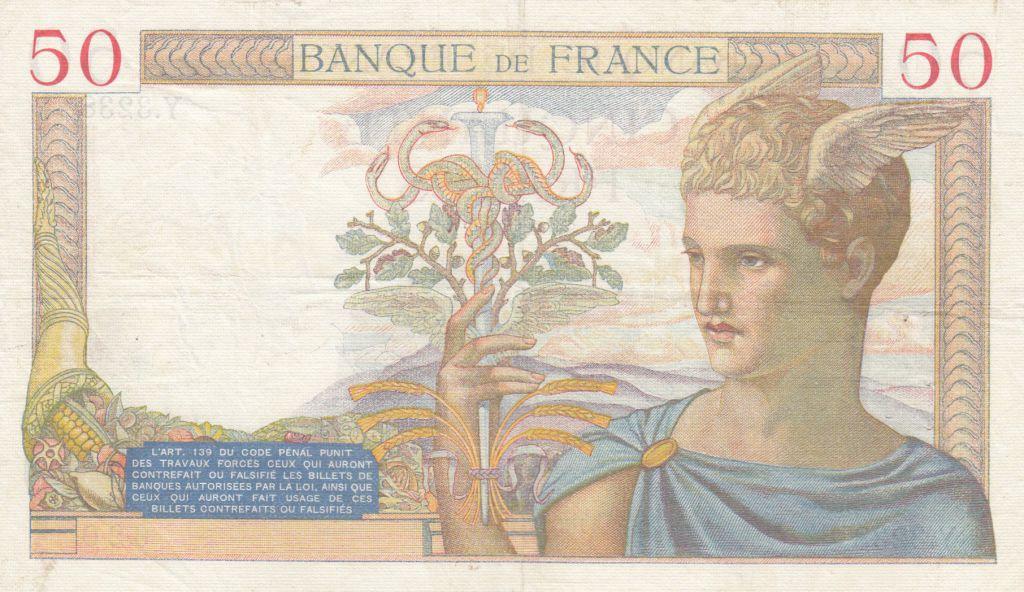 France 50 Francs Cérès - 17-10-1935 - Série Y.3238 - TTB