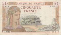 France 50 Francs Ceres - 18-07-1935 - Serial U.2347 - F to VF
