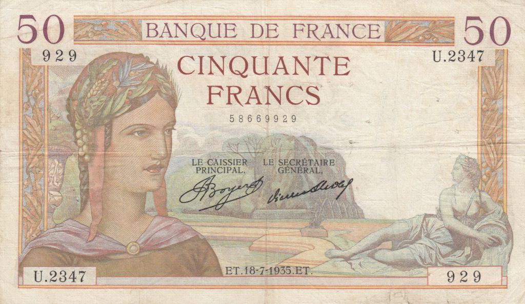 France 50 Francs Cérès - 18-07-1935 - Série U.2347 - TB+