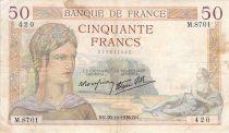 France 50 Francs Cérès - 20-10-1938 - Série M.8701 - TB+