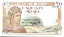 France 50 Francs Ceres - 20-10-1938 Serial D.8682-130