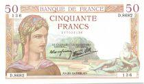 France 50 Francs Ceres - 20-10-1938 Serial D.8682-136
