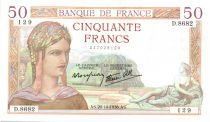 France 50 Francs Cérès - 20-10-1938 Série D.8682-129