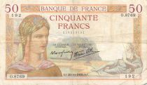 France 50 Francs Cérès - 20-10-1938 Série O.8769 - TB+