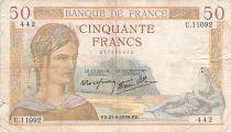 France 50 Francs Cérès - 21-09-1939 - Série U.11092 - B+
