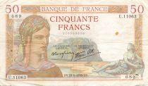 France 50 Francs Cérès - 21-09-1939 Série U.11063 - TB+