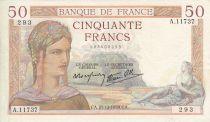 France 50 Francs Cérès - 21/12/1939  - Serial  A. 11737