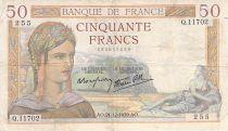 France 50 Francs Cérès - 21-12-1939 - Série Q.11702 - TB