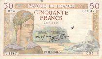 France 50 Francs Cérès - 21-12-1939 - Série U.11817 - TB+
