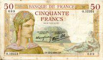 France 50 Francs Cérès - 22-02-1939 Série O.12351-689 - PTTB