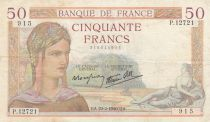 France 50 Francs Cérès - 22-02-1940 - Série  P.12721 - TTB