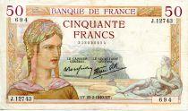 France 50 Francs Ceres - 22-02-1940 Serial J.12743-694 - VF