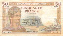 France 50 Francs Cérès - 22-02-1940 Série X.12495 - TTB