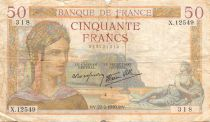 France 50 Francs Cérès - 22-02-1940 Série X.12549 - PTB