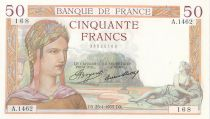 France 50 Francs Ceres - 25-04-1935 - Serial A.1462 - AU