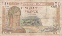 France 50 Francs Ceres - 26-08-1937 - Serial X.6755